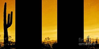 Desert Sunset Digital Art - Saguaro Sunset Triptych by Tim Richards