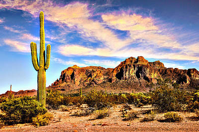 Grandview Digital Art - Saguaro Superstition Mountains Arizona by Bob and Nadine Johnston