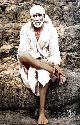 India Babas Digital Art - Sai Baba Of Shirdi  by Anil Menon