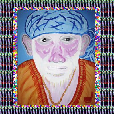Mixed Media Royalty Free Images - Sai Baba of Sirdi Art by Navin Joshi Royalty-Free Image by Navin Joshi