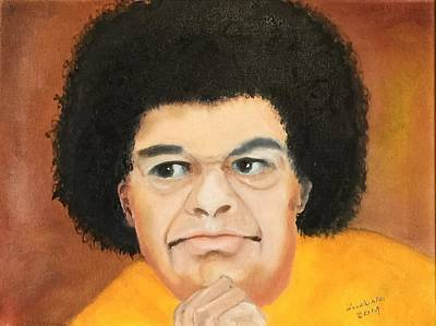 Baba Portrait Painting - Sai Baba by Ryszard Ludynia