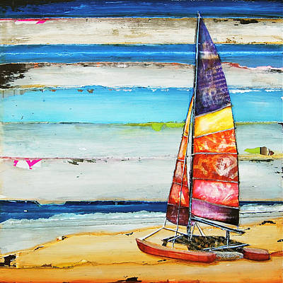 Colorful Boats Wall Art - Mixed Media - Sail Away by Danny Phillips