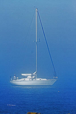 Boat In The Fog Digital Art - Sail Boat In The Fog And On The Sound by Tom Janca