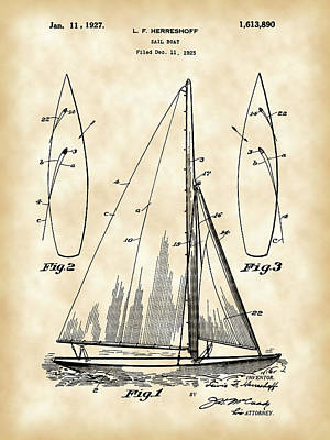 Sail Boat Patent 1925 - Vintage Art Print by Stephen Younts