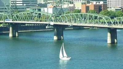 Photograph - Sail Boat With Bridge View by Susan Garren