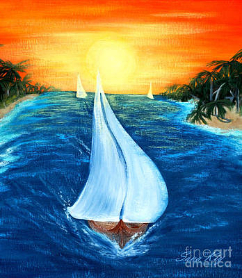 Painting - Sail Boats Card by Oksana Semenchenko