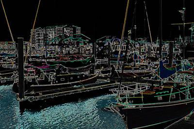 Sail Boats In Neon Art Print