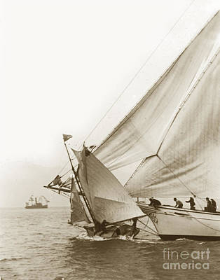 Photograph - Sail Boats Little Anne And Virginia Collision On San Francisco Bay Circa 1886 by California Views Mr Pat Hathaway Archives