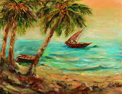 Painting - Sail Boats On Indian Ocean  by Sher Nasser