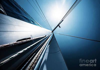 Sail Cloth Photograph - Sail Over Blue Clear Sky by Anna Om