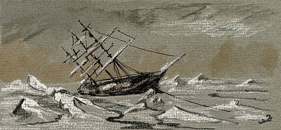 Pencil Painting - Sail Ship Arctic by Juan  Bosco