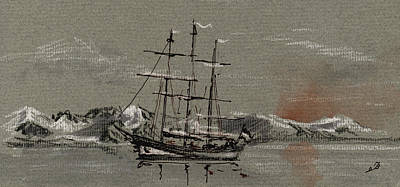 Pencil Painting - Sail Ship At The Arctic by Juan  Bosco