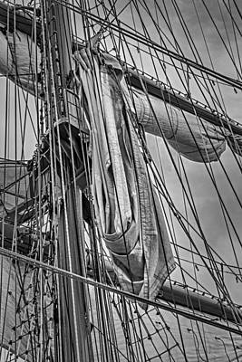 Ship Photograph - Sail Ship Mast Bw by Susan Candelario
