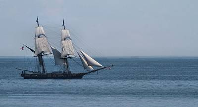 Sail Ship On The Straits Of Mackinac Art Print by Dan Sproul