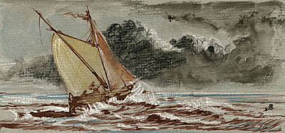 Classic Marine Art Painting - Sail Ship Stormy Sea by Juan  Bosco