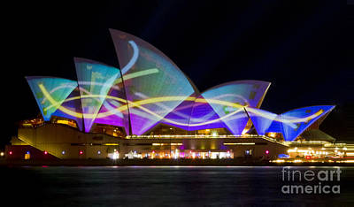Photograph - Sail Streamers - Sydney Vivid Festival - Sydney Opera House by Bryan Freeman