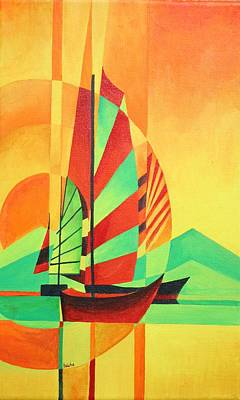 Print featuring the painting Sail To Shore by Tracey Harrington-Simpson