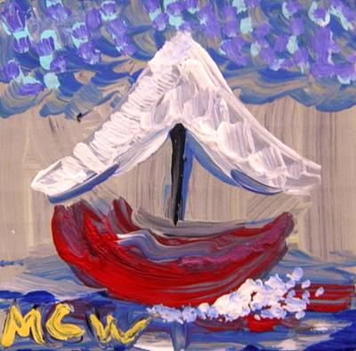 Primitive Drawing - Sail Travel by Mary Carol Williams