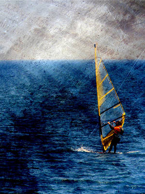 Lake Michigan Digital Art - Sailboarding W Metal by Anita Burgermeister
