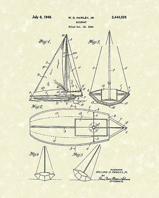 Sailing Drawing - Sailboat 1948 Patent Art by Prior Art Design