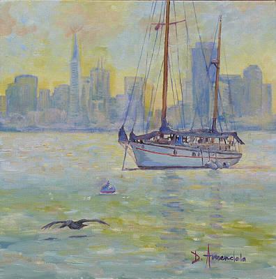 Sailboat Anchored At Sunset Art Print by Dominique Amendola