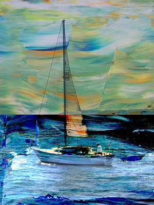 Digital Art - Sailboat And Abstract by Anita Burgermeister