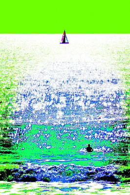 Sailboat And Swimmer -- 2b Art Print by Brian D Meredith
