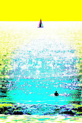 Sailboat And Swimmer -- 2c Art Print by Brian D Meredith