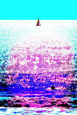 Photograph - Sailboat And Swimmer -- 2d by Brian D Meredith