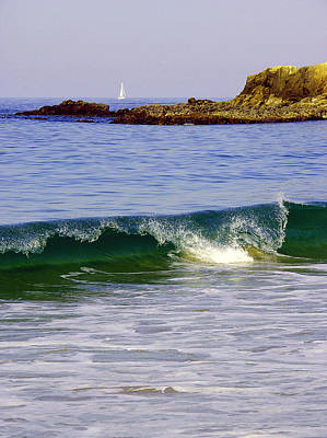 Photograph - Sailboat And Wave by Martin Sullivan