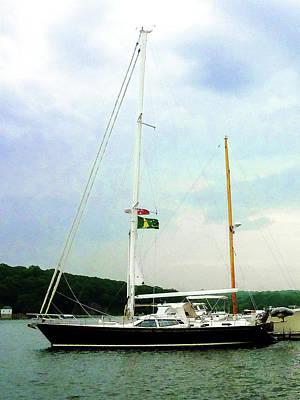 Docks Photograph - Sailboat At Anchor by Susan Savad