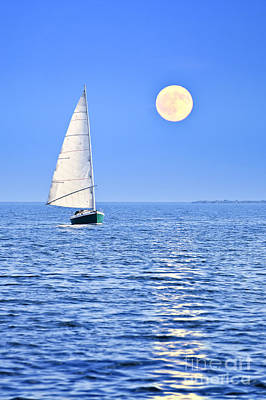 Animal Paintings David Stribbling Royalty Free Images - Sailboat at full moon Royalty-Free Image by Elena Elisseeva
