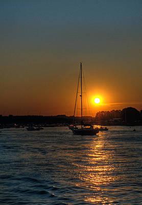 Photograph - Sailboat At Sunset by Rick Mosher