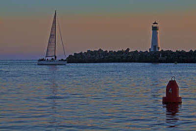 Beach Photograph - Sailboat At Sunset by SC Heffner