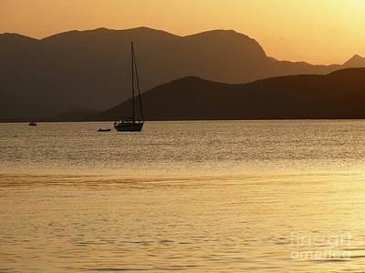 Sailboat At Sunset Art Print by Sophie Vigneault