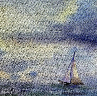 Sailboat Ocean Painting - Sailboat At The Sea by Irina Sztukowski