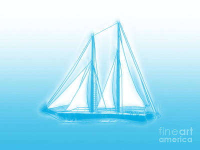 Digital Art - Sailboat Background by Methune Hively