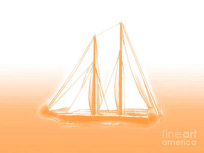Digital Art - Sailboat Background Orange by Methune Hively