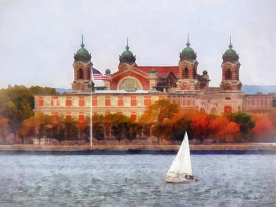 Flagpole Photograph - Sailboat By Ellis Island by Susan Savad