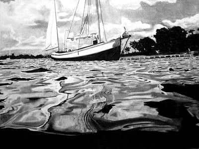 Sailboat By Shore Original