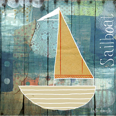 Sailboat Ocean Painting - Sailboat Collage by Katie Doucette