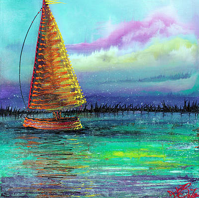 Island Painting - Sailboat Cruise by Laura Barbosa