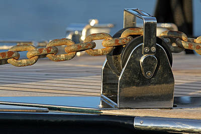 Photograph - Sailboat Details Of Chain And Roller by Juergen Roth