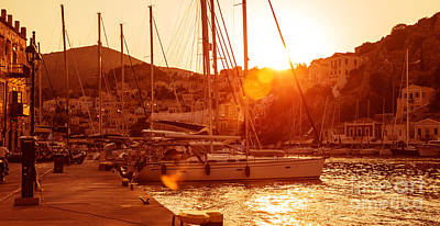 Symi Photograph - Sailboat Harbor In Sunset by Anna Om