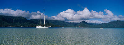 Sailboat In A Bay, Kaneohe Bay, Oahu Art Print