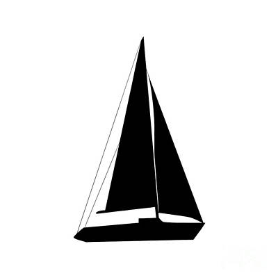 Digital Art - Sailboat In Black And White by Jackie Farnsworth