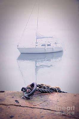 Sailboat In Fog Art Print by Jill Battaglia
