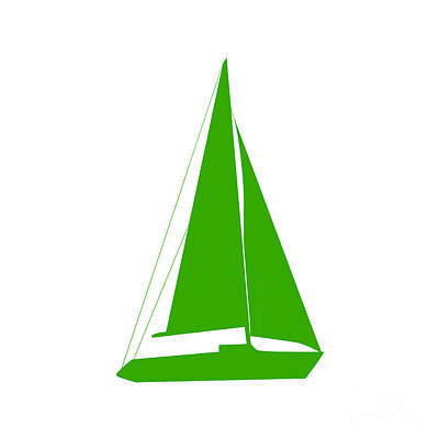 Digital Art - Sailboat In Green And White by Jackie Farnsworth