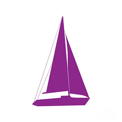 Digital Art - Sailboat In Purple And White by Jackie Farnsworth