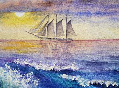 Sailboat In The Ocean Print by Irina Sztukowski